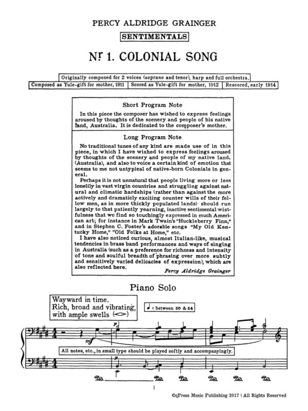 Grainger, Colonial Song-p03