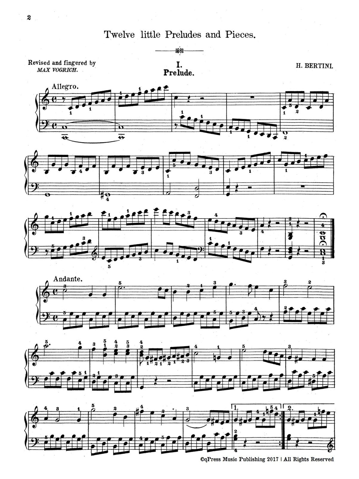 Bertini, 12 little Preludes and Pieces-p02